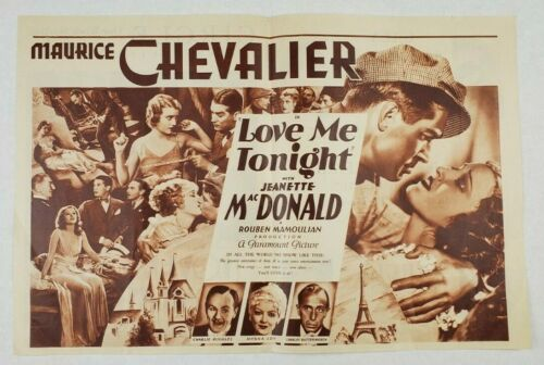 LOVE ME TONIGHT Original Movie Herald 1932 MAURICE CHEVALIER, JEANETTE MACDONALD