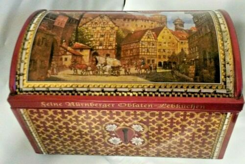 Collectors Tin German rectangle with hinged domed lid Nurnberger Lebkuehen