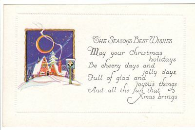 Vintage Postcard Christmas Best Wishes Poem lovely old fashion art nice