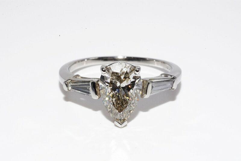 $14,000 2.39CT 3 STONE NATURAL PEAR CUT WHITE DIAMOND PLATINUM ENGAGEMENT RING