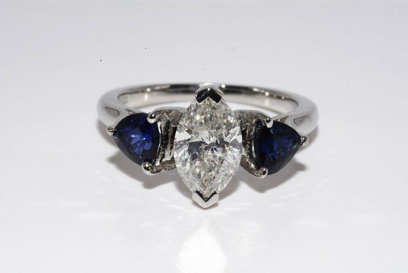 $11,000 2.46CT 3 STONE NATURAL DIAMOND & BLUE SAPPHIRE PLATINUM ENGAGEMENT RING