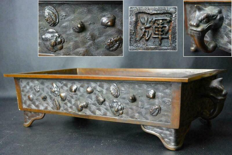 Japanese Old Suiban Bronze Bonsai Pot / Size W 51[cm] 7.9kg/ Tray