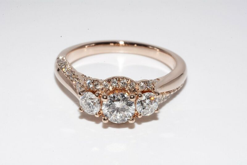 $5,500 1.22CT NATURAL ROUND CUT WHITE DIAMOND ENGAGEMENT RING 14K ROSE GOLD