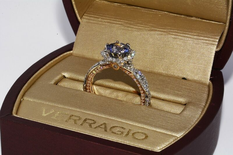 $9,000 3.64CT EGL CERTIFIED AUTHENTIC VERRAGIO BLUE SAPPHIRE DIAMOND RING 18K