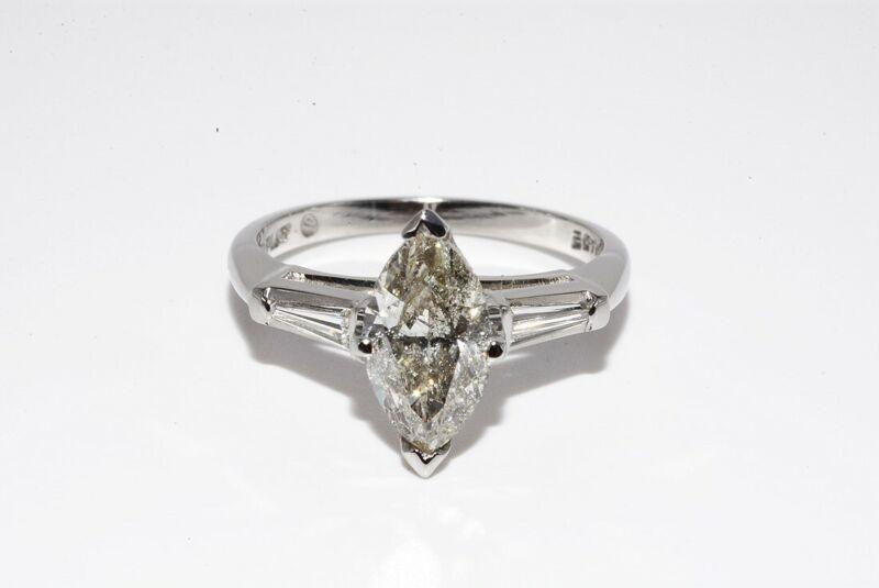$9,500 1.79CT NATURAL MARQUISE CUT DIAMOND HAND MADE PLATINUM ENGAGEMENT RING