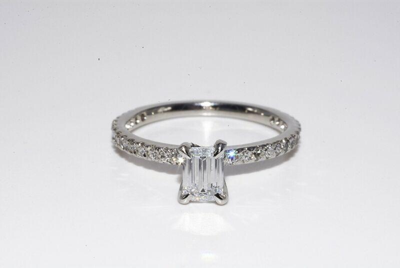 $3,850 .67CT NATURAL EMERALD CUT WHITE DIAMOND ENGAGEMENT RING 14K WHITE GOLD