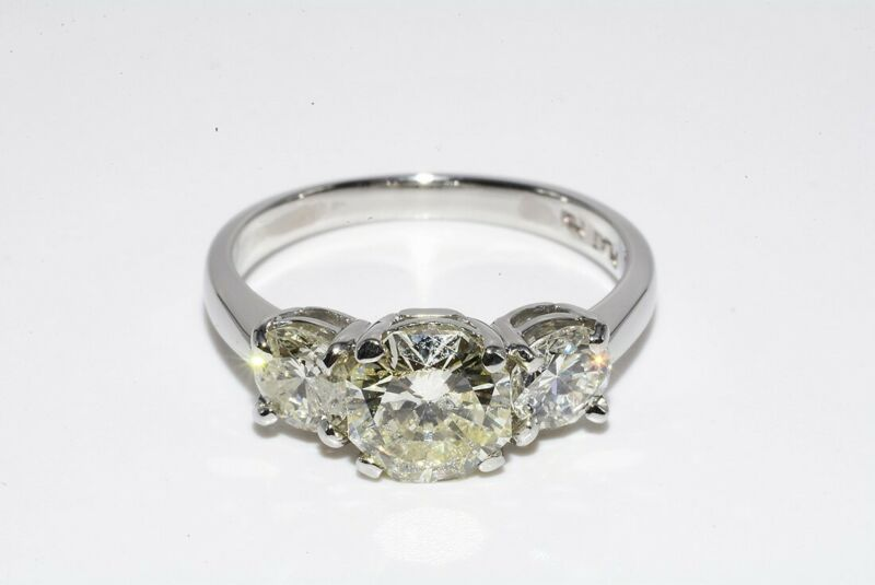 $11,000 1.80CT 3 STONE NATURAL OCTOGAN CUT DIAMOND PLATINUM ENGAGEMENT RING