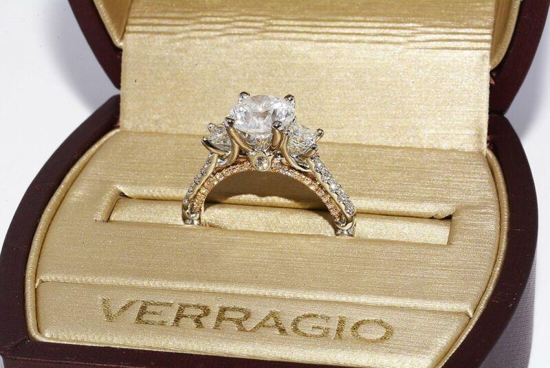 $23500 3.15CT EGL CERTIFIED AUTHENTIC VERRAGIO ROUND DIAMOND ENGAGEMENT RING 18K