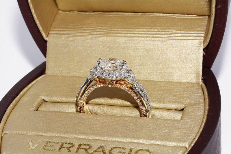 $14,500 2.13CT AUTHENTIC VERRAGIO ROUND DIAMOND ENGAGEMENT RING 18K WITH BOX
