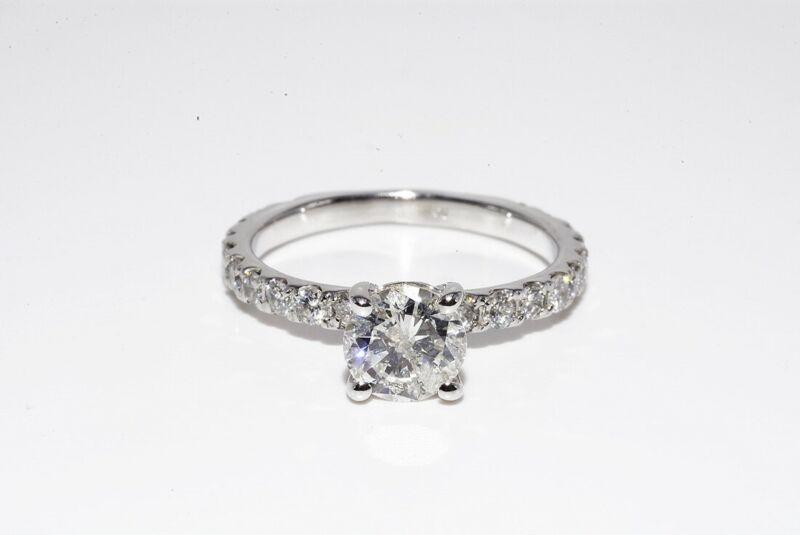$5,000 1.35CT NATURAL ROUND CUT WHITE DIAMOND ENGAGEMENT RING 14K WHITE GOLD