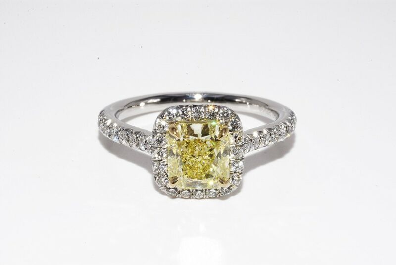 $24200 1.87CT GIA AUTHENTIC TIFFANY & CO. FANCY YELLOW DIAMOND SOLESTE HALO RING