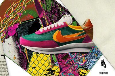 Sacai x Nike LDV Waffle Daybreak Mens Sneakers Running Shoes Trainers Green/Pink