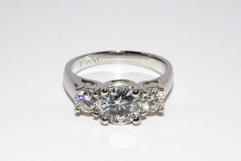 $9,500 1.56CT 3 STONE NATURAL ROUND CUT WHITE DIAMOND PLATINUM ENGAGEMENT RING