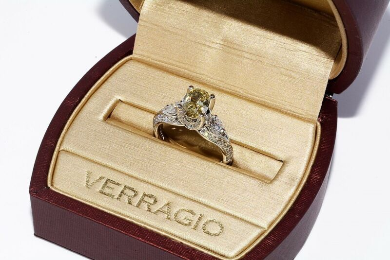 $20000 2.72CT GIA AUTHENTIC VERRAGIO FANCY GREEN/YELLOW DIAMOND ENGAGEMENT RING