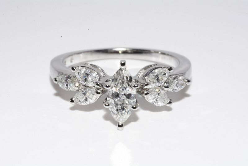 $5,000 1.17CT NATURAL MARQUISE CUT WHITE DIAMOND ENGAGEMENT RING 14K WHITE GOLD
