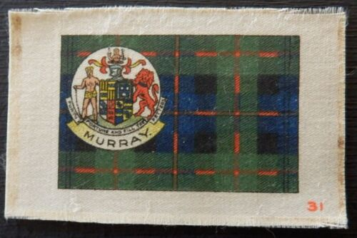 MURRAY Clan Tartan and Coat of Arms 96 year old SILK card issued in 1922