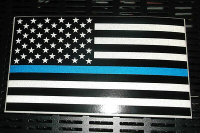 "Police Officer Thin Blue Line Reflective American Flag Decal 3"" tall x 5.3"" wide"