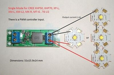 Led Driver Ld2-24a 2.4a Dc 5v-27v For Xhp50 Xhp70 Xp-lxm-ll2
