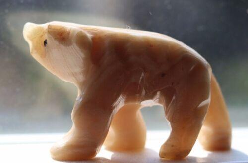 Vintage Zuni Indian Hand Carved White Marble Walking Bear Fetish
