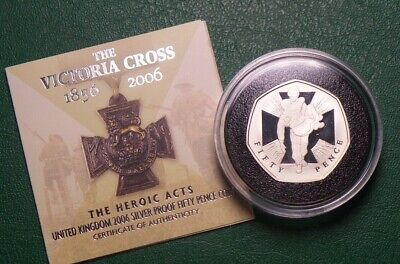 2006 UK 925 SILVER PROOF 50P COIN  VICTORIA CROSS COLLECTION [NO13]