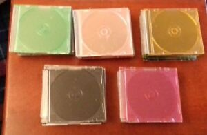Job Lot 40 Empty Single CD Jewel Slimline Cases Mixed Colours