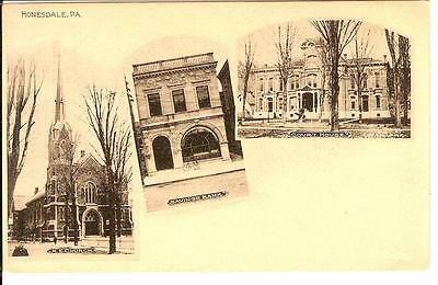 Vintage Postcard 1907 Honesdale Pa  Wayne County Me Church Savings Bank Court Pc