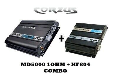 BUNDLE OFFER! CORZUS MD5000 1Ω 5KW RMS 1 CH + HF804 800W RMS 4 CH W T-SHIRT! comprar usado  Enviando para Brazil