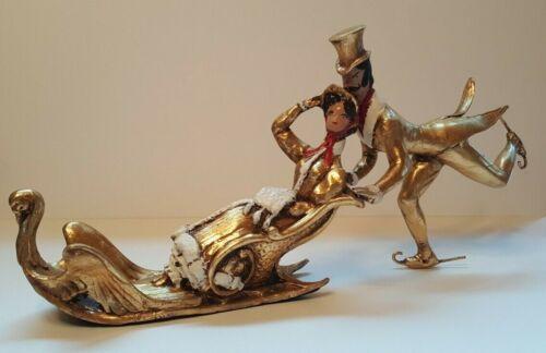 Victorian Christmas Swan Sleigh Ice Skates Skater Couple Man Woman Plaster RARE