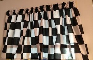 Man Cave Garage Cars Nascar Valance 42W X 15L Window Curtain Checkered Flag