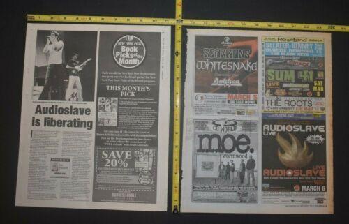 Audioslave 2003/2005 2PC Concert Ad/Review Lot Chris Cornell Tom Morello