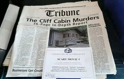 Scary Movie 5 Original Screen Used Prop Newspaper Movie Prop Premiere Props COA