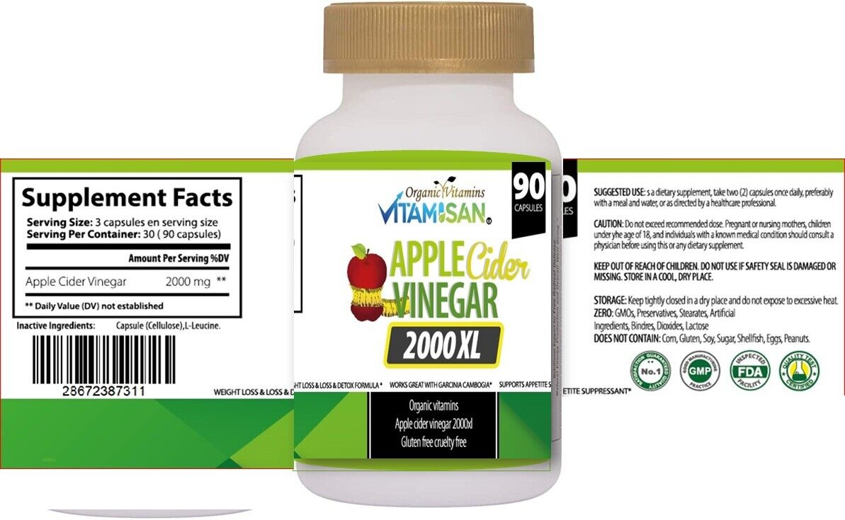 Body Detox & Cleanse w/ Apple Cider Detox Health and Weight Loss Aid, 3-Pack 270 4
