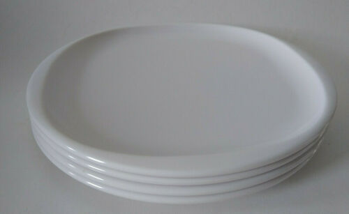 "4 Vintage Retro Kitchen Boontonware White 10"" Dinner Plates 1102-10"