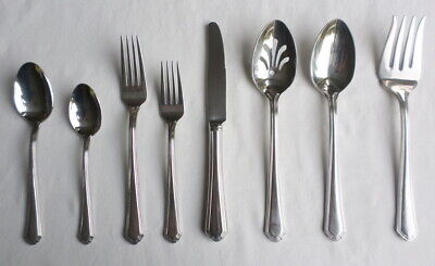 Place Spoons Stainless 18//10 Lenox BEAD Glossy Plume Flatware 6 Oval Soup