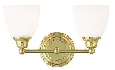 - 2 Light Polished Brass Somerville Livex Bathroom Vanity Fixture Sale 13662-02