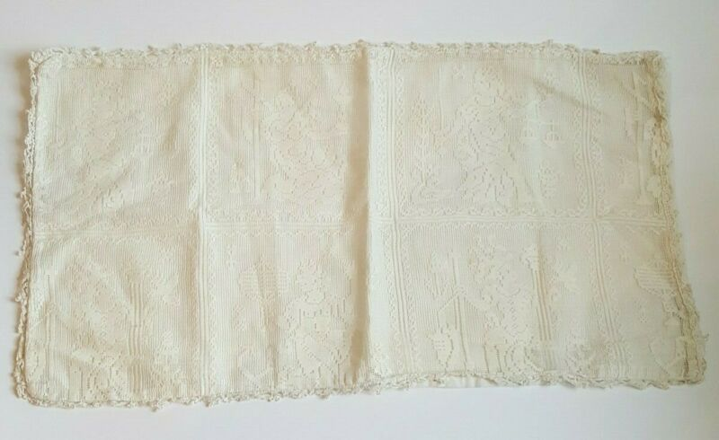 Antique Vintage Pillow Case Covering Figural Lace 18 x 9 1/2""