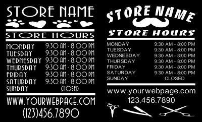 Custom Business Store Hours Sign Vinyl Decal Sticker 11.5x16 Wide Door Window