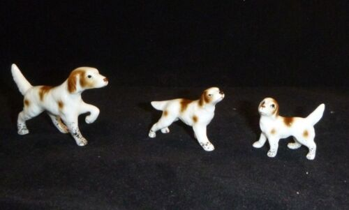 Vtg Bone China Springer Spaniel Pointer Dog Family Miniature Figurines