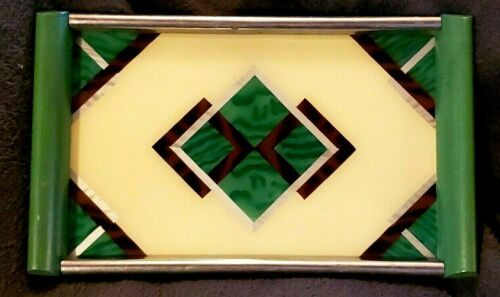 ART DECO #70 REVERSE PAINTED SERVING TRAY cocktail bar ware Bauhaus Frankart