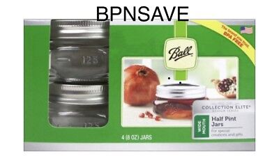 Ball Wide Mouth Half Pint Canning Mason Jars-Collection Elite Glass 8Oz Pkg 4