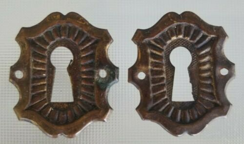 Pair Brass Keyhole Escutcheons reclaimed hardware