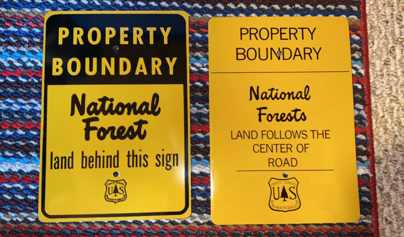 national forest property boundary signs - reproductions