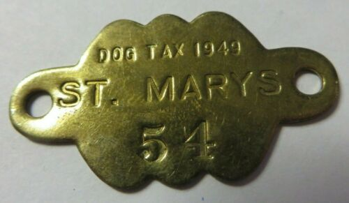 Vintage 1949 Dog Tag License Tax Receipt ST. MARY
