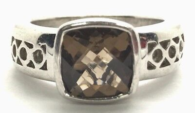 Sterling Silver Faceted Cushion Brown Smoky Quartz Geometric Band Cocktail Ring