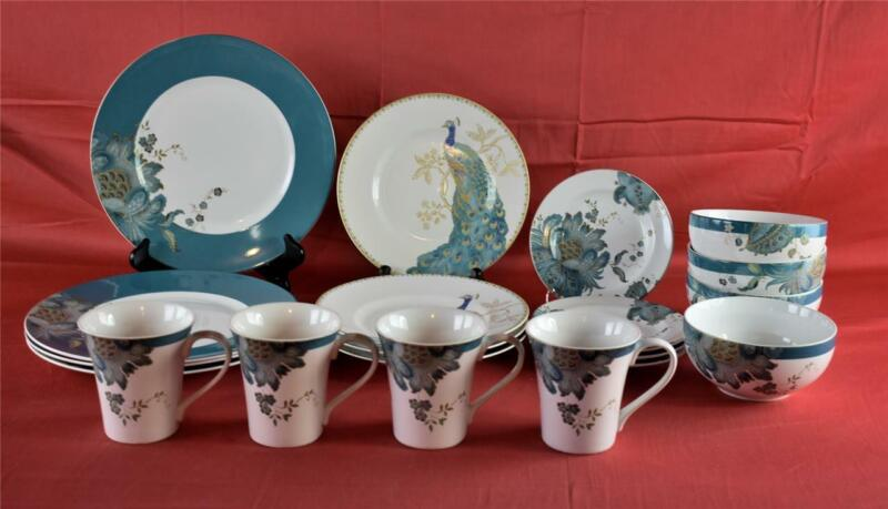 222 Fifth Eliza Teal 4 Place Setting 20 pc Set