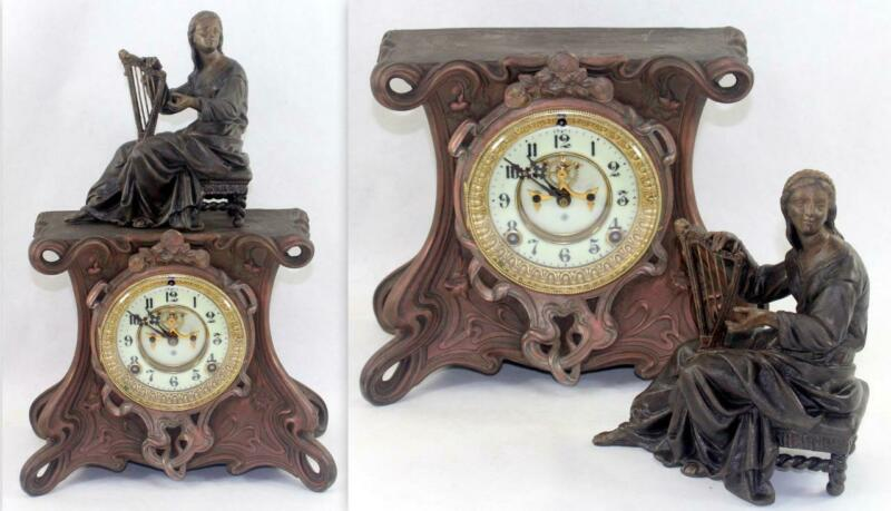 Antique Ansonia c.1900 Open Escapement Cast Metal Clock w/ Rare Miranda Figure