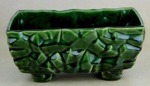 "Vintage McCoy Pottery Green Glazed Rectangular Planter Geometric Pattern 8 1/8"""