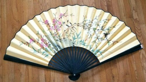 """Vintage Large Chinese Asian Hand Painted Wall Fan Decor Floral 30"""""""