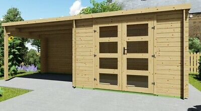 Garden Office with a side porch 3mx2.4m+3m 28mm /FLOOR AND ROOF COVER...