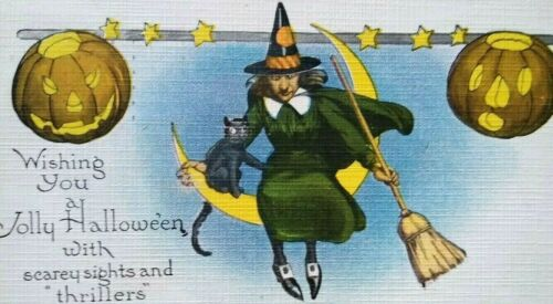 Vintage Halloween Postcard Witch & Black Cat Seated On Moon Series 363 Original